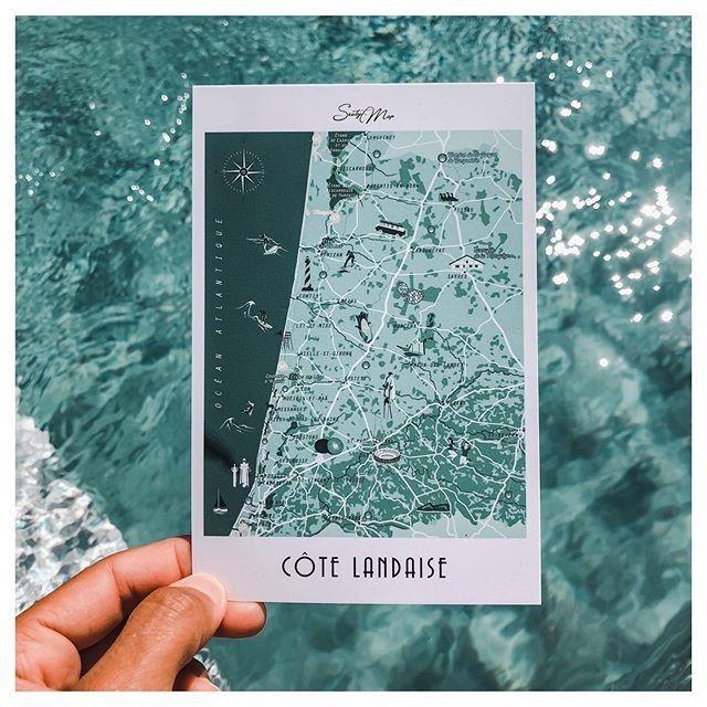 Shades of blue 💙 La Côte Landaise en format carte postale 💌 | Format carte postale, Carte ...