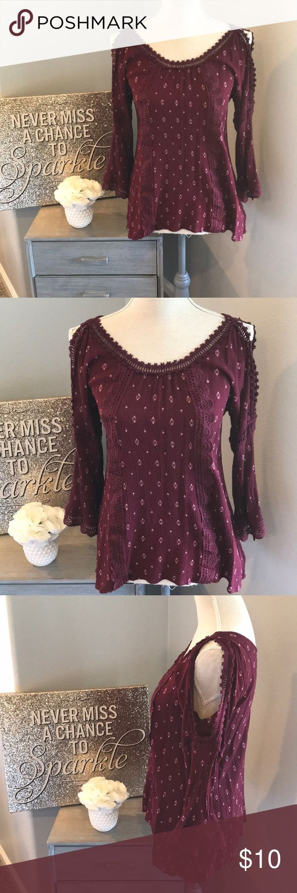 Women's cold shoulder long sleeve blouse shirt Beautiful cold shoulder detail lace. Maroon woman's blouse long sleeve shirt size M  100% Rayon love on a hanger Tops Blouses