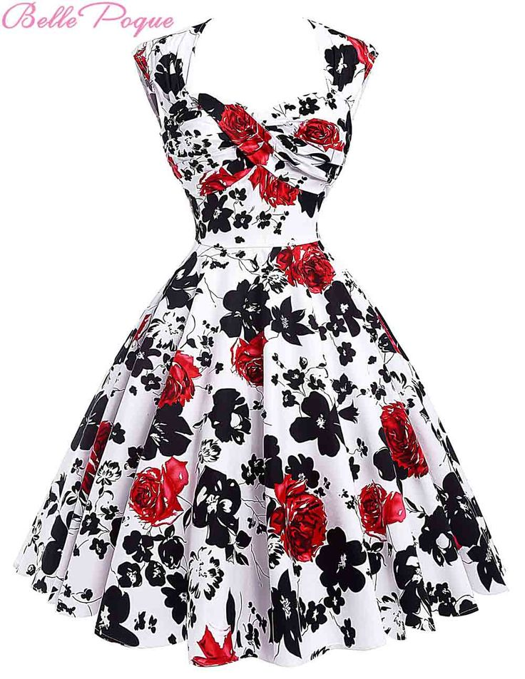 Audrey Hepburn Vestidos Cotton Floral Print Vintage 50s Dresses Women Robe Rockabilly Pin Up Dress BP000024 Alternative Measures