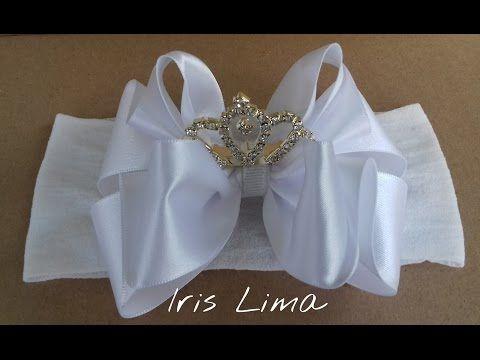Como fazer laço de fita de cetim com coroa na faixa de meia de seda DIY PAP By Iris Lima - YouTube