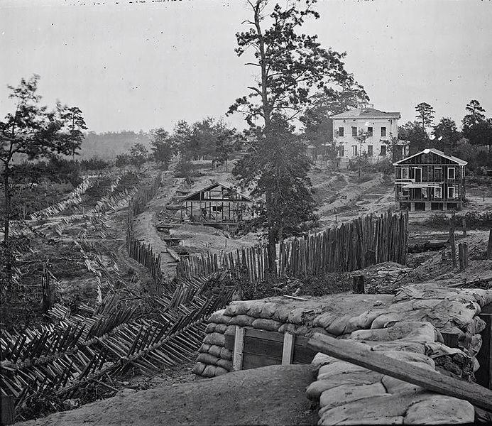 The Ponder House and the  Confederate defensive works around Atlanta, GA, 1864 Credit: George N. Barnard (1819-1902)