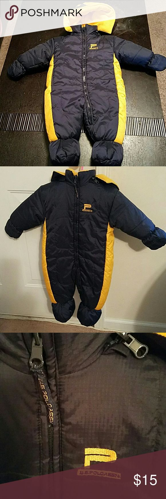 Baby Winter Snow Suit U.S. Polo Association reversible Snow Suit with detachable hood.  Navy blue and yellow. Worn once; in great condition. The sizing tag is missing but it is 21 inches in length and 13 in.  across. U.S. Polo Assn. Jackets & Coats Puffers