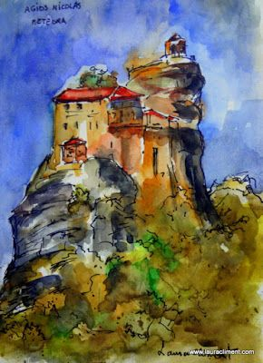 LAURA CLIMENT Meteora. Agios Nicolaos (Watercolor).