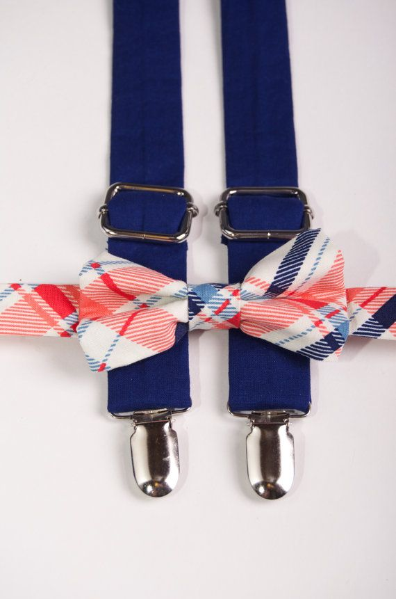 coral and navy plaid suspender bow tie set navy
