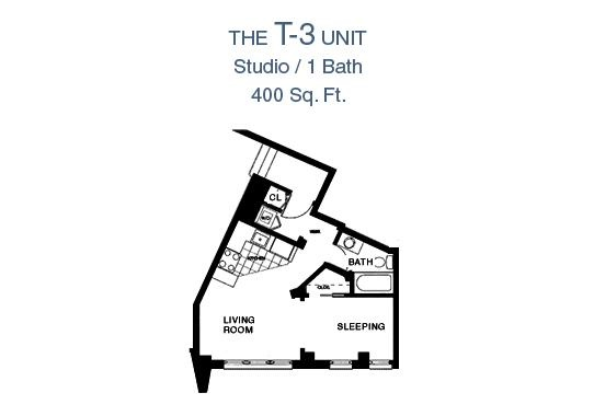 65 Prospect Street Terrace Studio Apartment Floor Plan - Studio/1 Bath, 400 Sq. Ft.