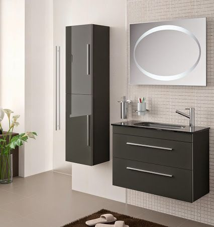fabulous meuble de salle de bain salgar faible profondeur cm serie gris anthracite with meuble. Black Bedroom Furniture Sets. Home Design Ideas