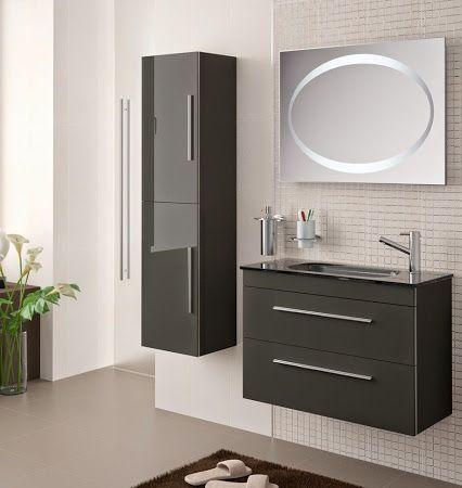 trendy meuble de salle de bain salgar faible profondeur cm serie gris anthracite with meuble sdb. Black Bedroom Furniture Sets. Home Design Ideas