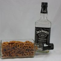 repurposed jack daniels bottle | Serving Dish Bowl Upcycled from Jack Daniel's Bottle