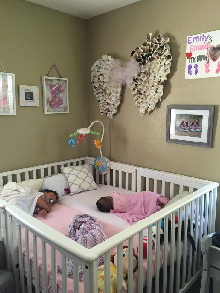 Crib for twins or multiples.                                                                                                                                                     More