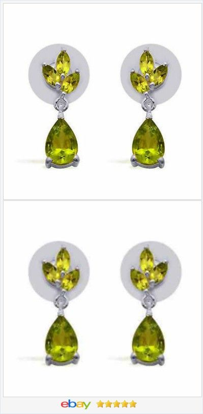 50% OFF #EBAY http://stores.ebay.com/JEWELRY-AND-GIFTS-BY-ALICE-AND-ANN Peridot Dangle Earrings 3.40 carats sterling USA Seller