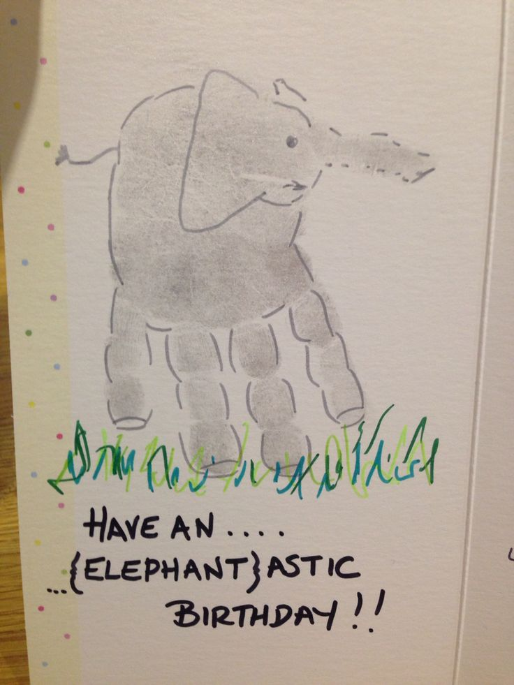 Elephant hand print. Have an elephan[tastic] birthday.