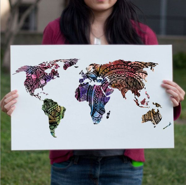 Watercolor World Map Art Print, Magenta Pink & Purple Painting Print, World Globe Travel Art Print poster, Dorm Decor, Map of the World Map - pinned by pin4etsy.com