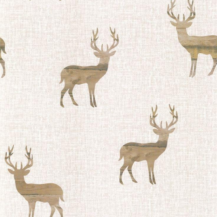 I Love Wallpaper Wooden Stag Wallpaper Neutral / Beige / Cream (ILW980020)