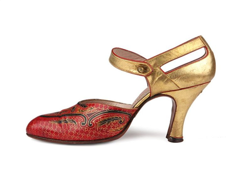 Gold and red leather evening shoes, with richly decorated vamp, 1920's