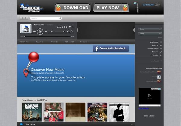 Stream free music at http://www.likezebra.com