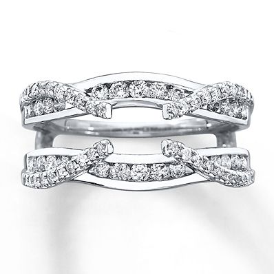 Ok, this is really cool looking. Diamond Enhancer Ring 3/4 ct tw Round-cut 14K White Gold