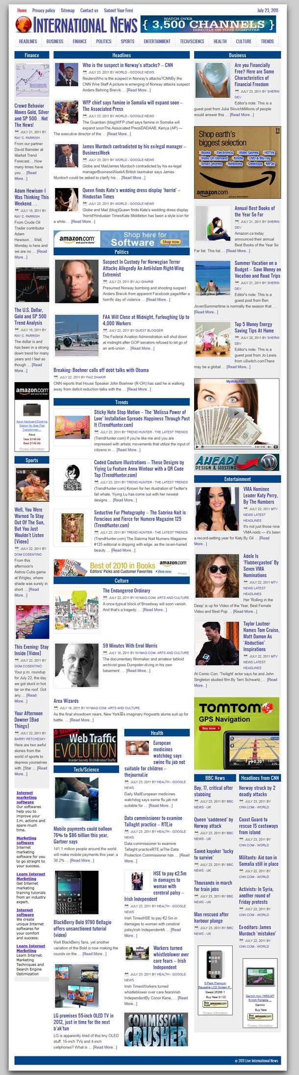 """World News aggregator  READY MADE WEBSITE FOR SALE!  This is our most powerful aggregator so far, featuring new design, the latest WordPress and plugins, new Google webfonts, social """"likes"""" including Google+ and our unique S.A.P. (Smart Ads Placement) for targeted advertisement. A site for real Internet marketing connoisseurs, so if you're serious about IM, make sure to keep reading and visit the site thoroughly and WATCH THE VIDEO."""