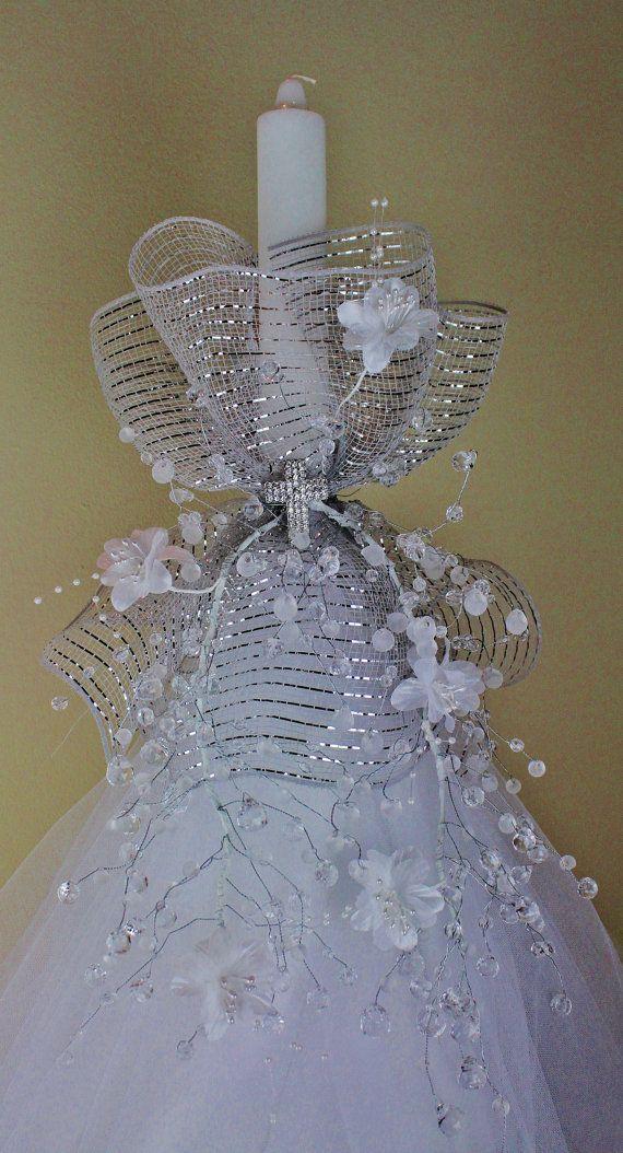Elegant handmade girl/boy baptism candle. Visit https://www.etsy.com/shop/CandlesBySimka