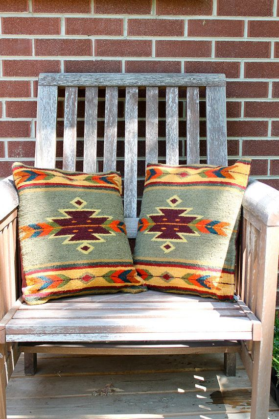 Classic NATIVE AMERICAN Wool NAVAJO Print Pillows // Set of two. *** See more by going to the picture