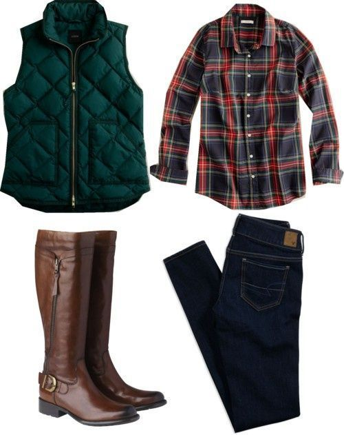 Quilted vest (in hunter green) and a plaid button up with brown boots.