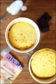 Mug cake au yaourt, coeur coulant au chocolat