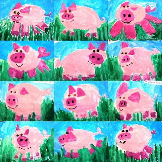 happy painted pigs