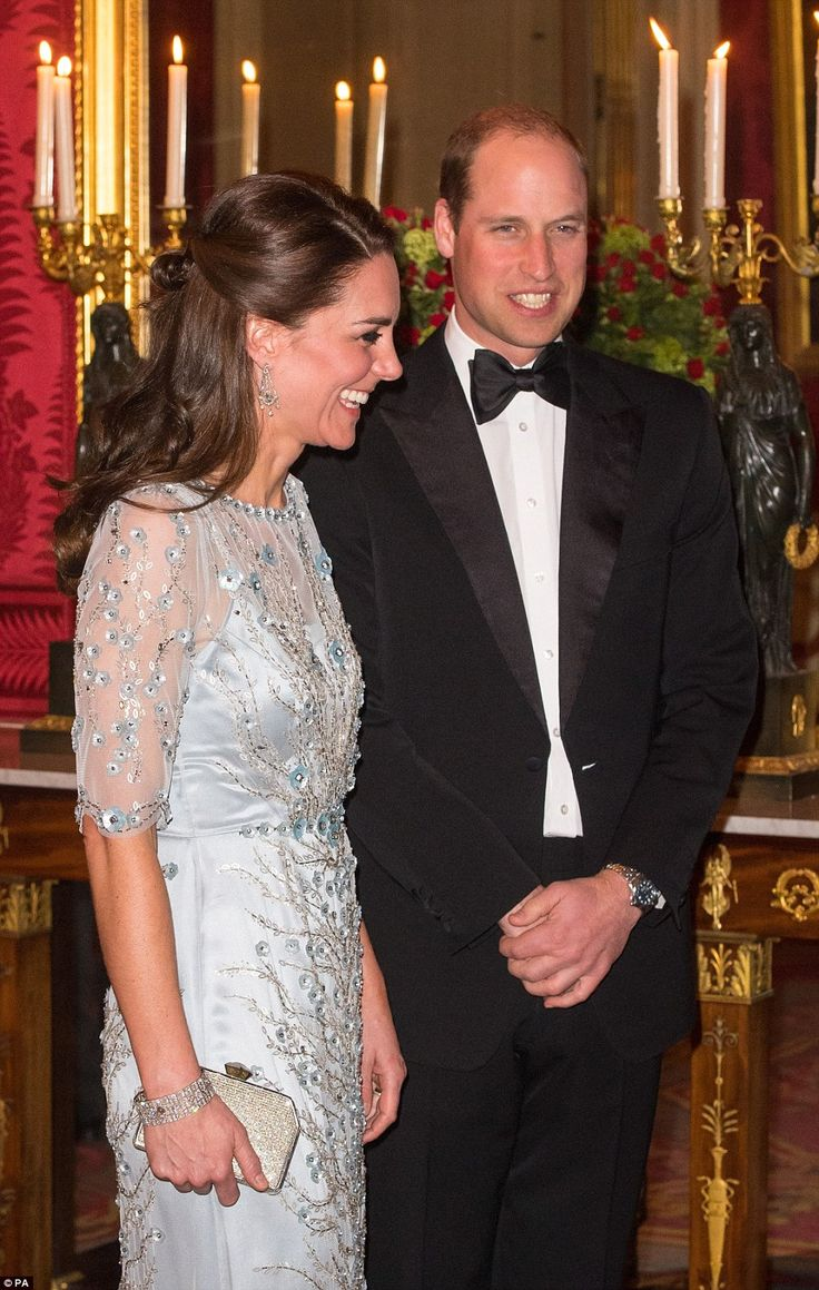Prince William and Kate were both spotted smiling as they mingled with guests at the British Embassy this evening