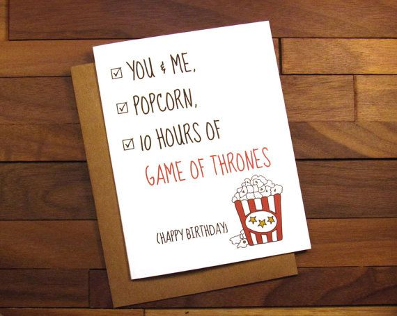 Birthday Card - Game of Thrones Birthday Card with Popcorn Recipe - Customizable TV or Movie Name! - Netflix Card - Breaking Bad Card