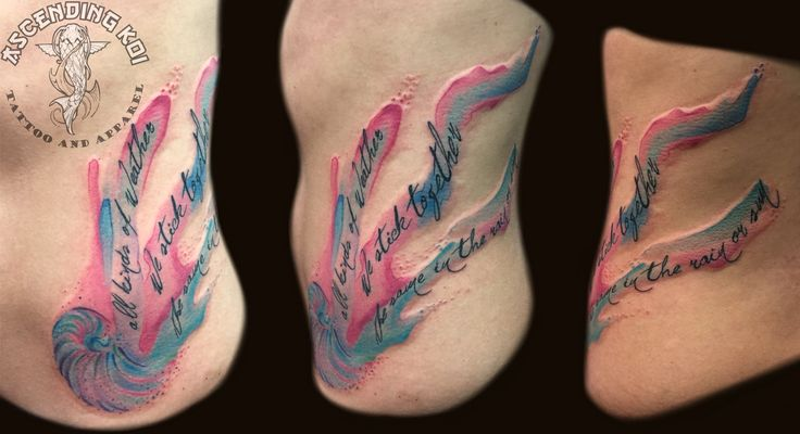 Watercolor side tattoo done by Pavel Ivacha  #ascendingkoi #pavelivacha #watercolortattoos #script #sidetattoos #ribtattoos #calgarytattoos