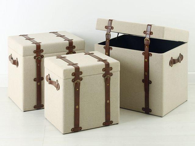 Baules vintage madera de yute set 3 decoracion del - Baules de madera para decorar ...