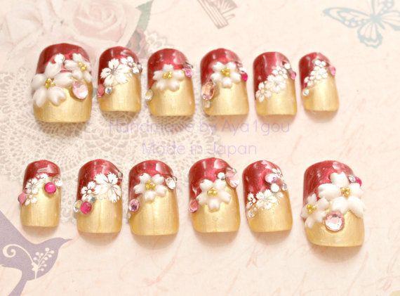 Japanese 3D nails, kawaii nail, lolita accessory, red, gold, pretty nail, fake nail 3D, acrylic nail, waloli, sakura, cherry blossom,