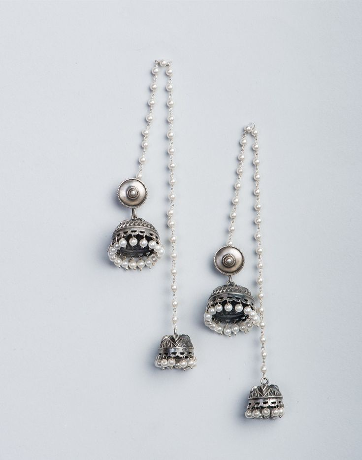 Silver Anusuya ES 2187 Jhumka Earrings