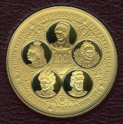 Cayman Islands Queens of England 50 dollars Proof gold coins