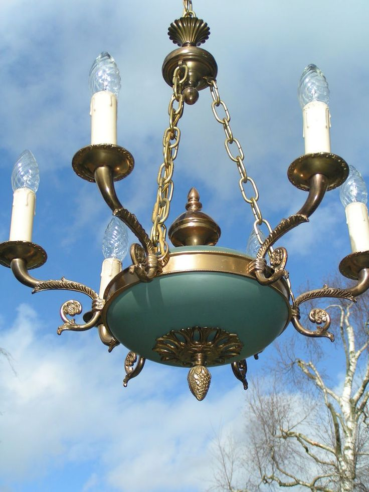 "&&& Very lovely and elegant  vintage French ""Empire""-style 6 lt chandelier  &&& #French"