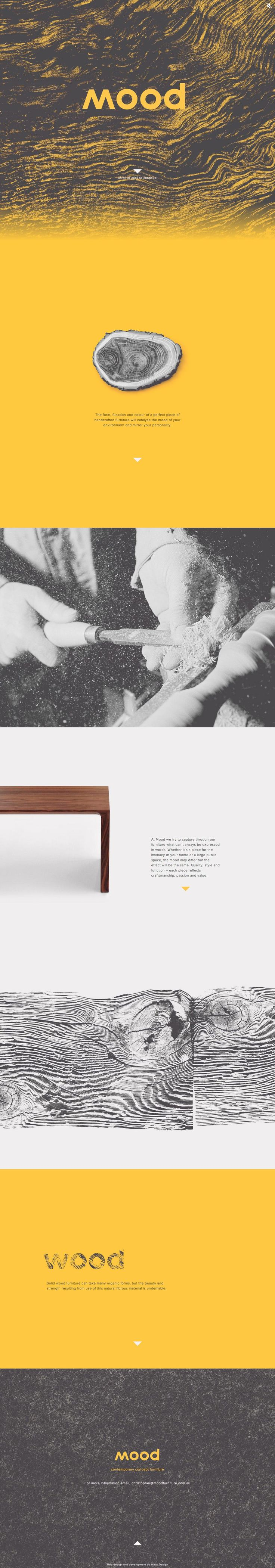 "Identity for Mood, a contemporary concept furniture brand. ""When you read the word 'mood' you see the word 'wood', your brain starts to invoke the raw texture and feeling of natural wood and the nostalgic feelings associated with it."" A clear explanation there by the people who design the brand identity for Mood, Watts Design."