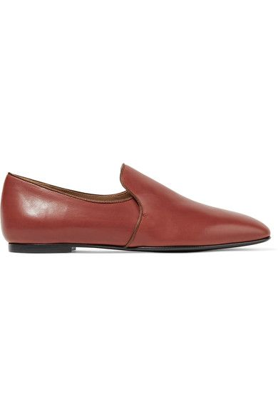 The Row - Alys Satin-trimmed Leather Loafers - Tan - IT37.5