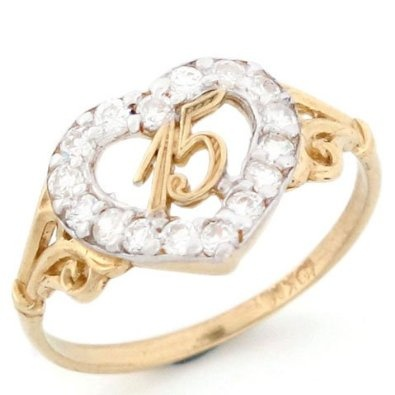 10k Gold 15 Anos Birthday Quinceanera CZ Heart Ring.  -- 46% DISCOUNT & 5.95 SHIPPING for a limited time!