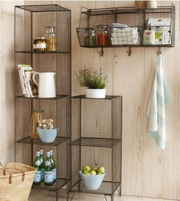 simple and functional. could use for kitchen or bathroom: shelves for towels, jars, and i love the fruit idea.