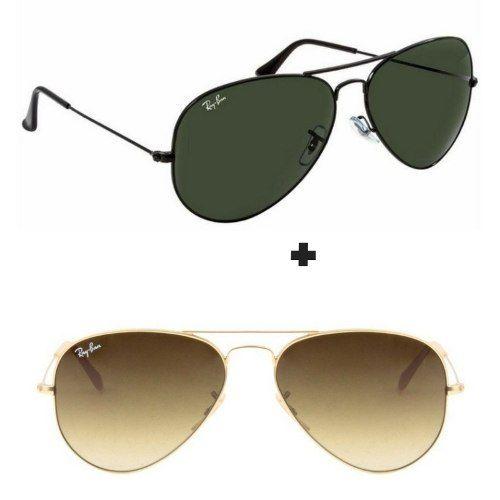 bf2fb77ec #Kit Com 2 Oculos Estilo Aviador Masculino Feminino Importado oculos de sol  rayban, oculos