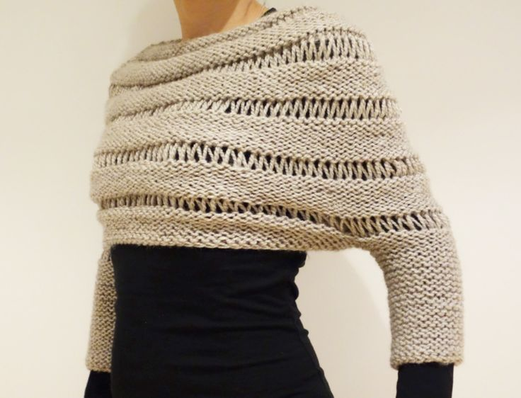 PDF Pattern - London Mist Cropped Sweater/ Poncho/ Chunky Knit Shrug by CamexiaDesigns on Etsy https://www.etsy.com/listing/217066662/pdf-pattern-london-mist-cropped-sweater