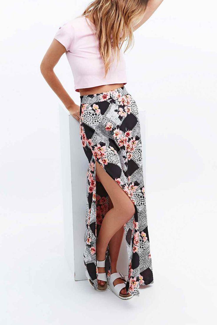 Minkpink Lacey Gardener Maxi Skirt in Black