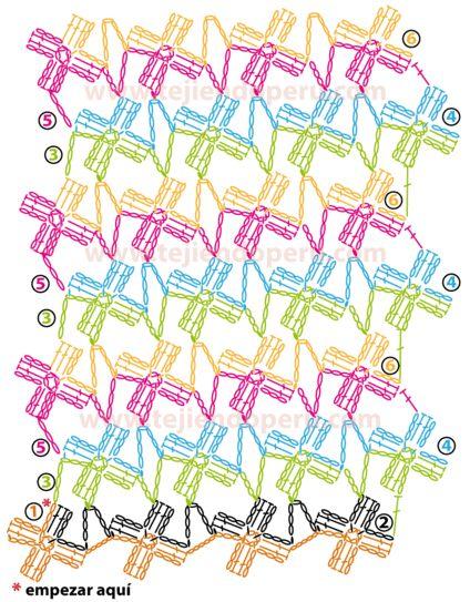 Crochet. Punto red de margaritas - Vídeo & Chart <3 <>