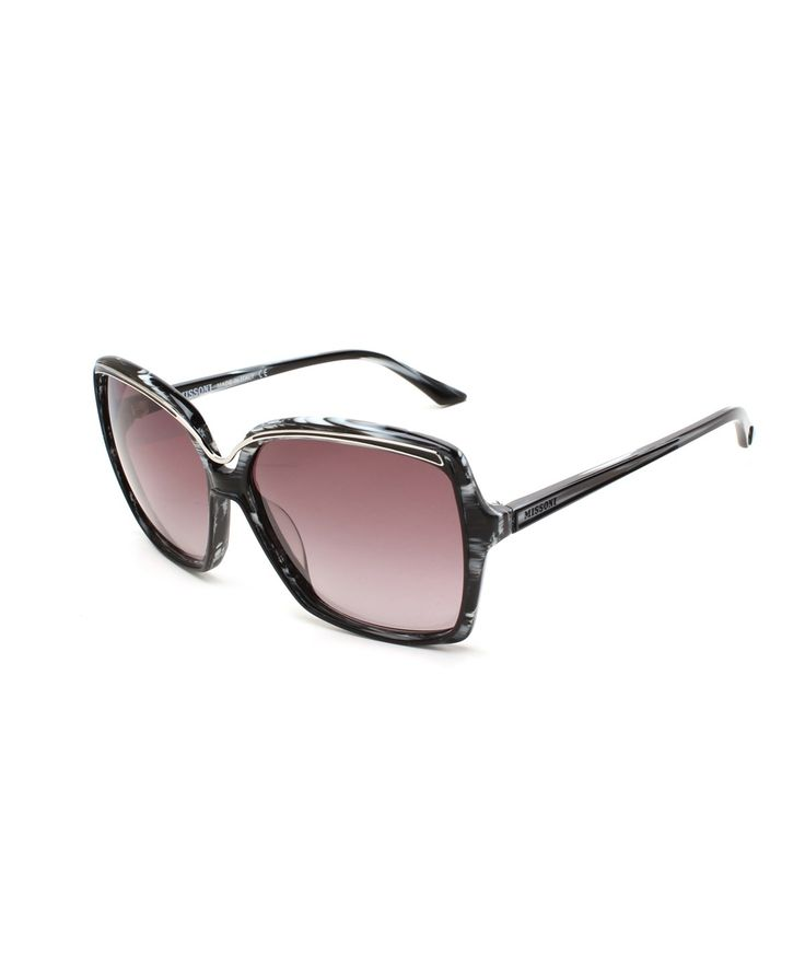 MISSONI MISSONI WOMEN'S METALLIC BROW OVERSIZED SUNGLASSES BLACK/IVORY'. #missoni #sunglasses