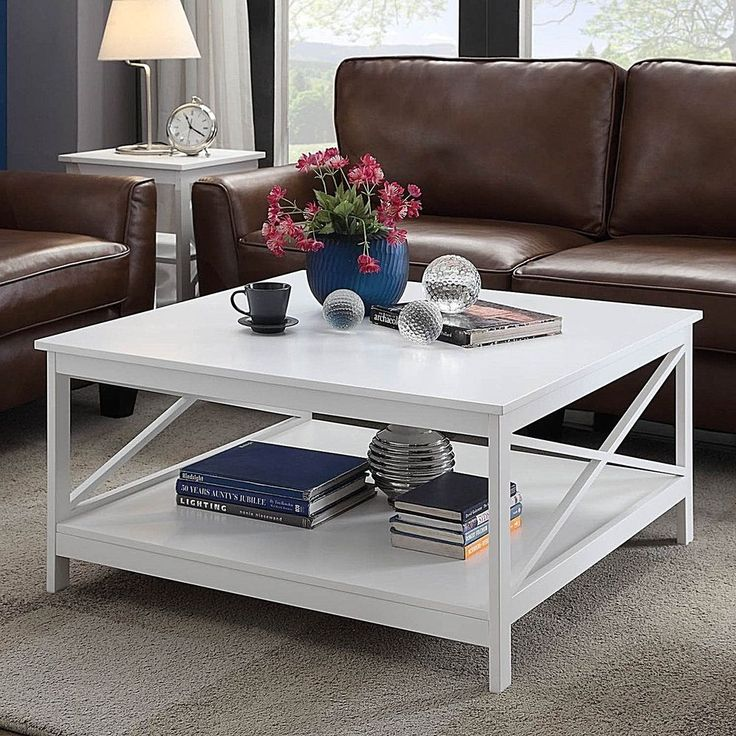 "36"" Square Modern Wood Coffee Table Furniture With Bottom Shelf White New        #White #Modern"