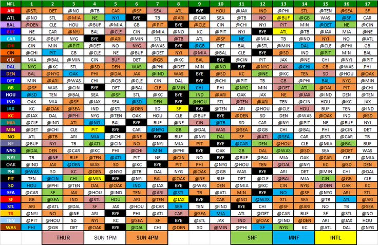 NFL 2013 Schedules Teams | Wallet-Sized Copy of the 2013 NFL Schedule