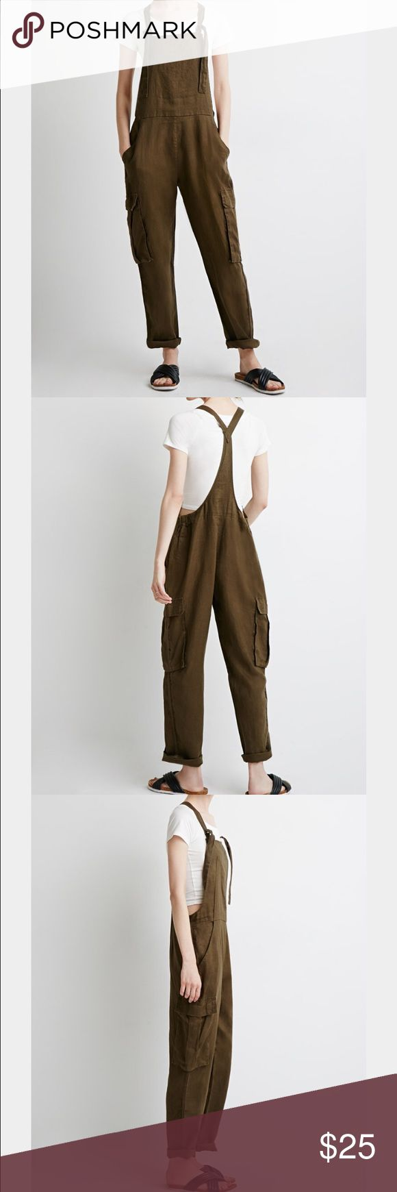 Contemporary Utility Linen Overalls Super comfortable hunter green linen Overalls. Pair it with a crop top or tee for an easy laid back look  Forever 21 Other