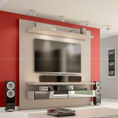 Home Suspenso para TV até 50 Polegadas TB107 com LED e Espelho 100% MDF 180 x 180 x 40 Fendi - Dalla Costa