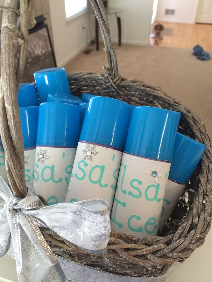"Blue silly string with label that says ""Elsa's Ice"" with snow flake stickers.. Great party favor"