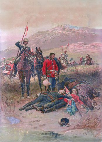 'Last Sleep of the Brave', Isandlwana, Zulu War, 1879 - Alphonse de Neuville, 1881. This work depicts a patrol from the 17th (Duke of Cambridge's Own) Lancers discovering the bodies of Lieutenant Teignmouth Melvill and Lieutenant Nevill Josiah Aylmer Coghill, 24th (2nd Warwickshire) Regiment of Foot