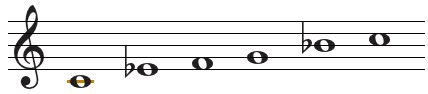 To form major pentatonic scales, we will use the corresponding major scale, more precisely its 1st, 2nd, 3rd, 5th and 6th degrees. So basically, a major pentatonic scale is a major scale without its 4th and 7th degrees.